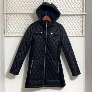 NINE WEST Quilted Longline Parka Jacket Black